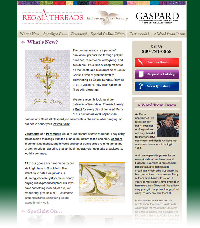 Gaspard Religious Vestments Newsletter