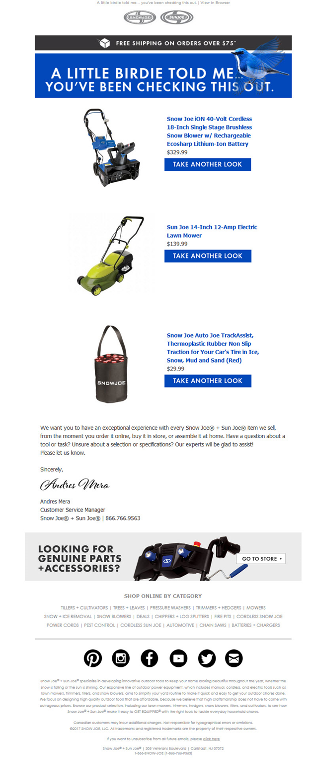 Examples of CA and BA email campaigns